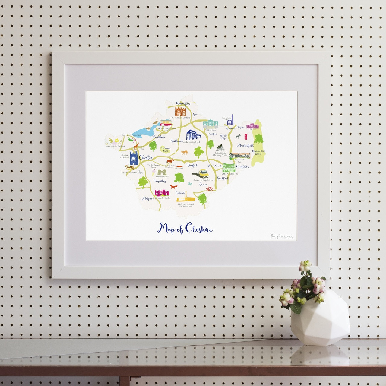 Illustrated Hand Drawn Map Of Cheshire By Uk Artist Holly Francesca
