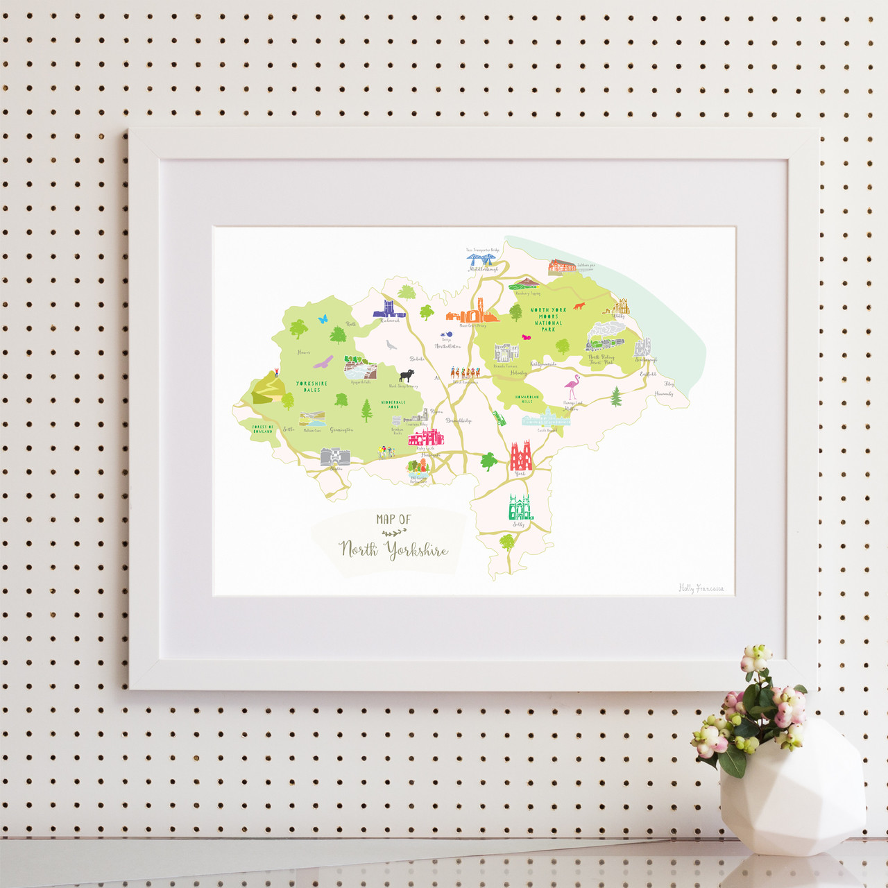 Illustrated Hand Drawn Map Of North Yorkshire By Uk Artist Holly