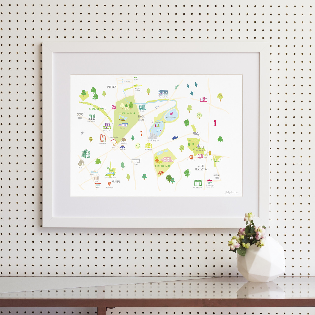bfce609aa25 Illustrated hand drawn Finsbury Park   Stoke Newington map by UK artist  Holly Francesca. All
