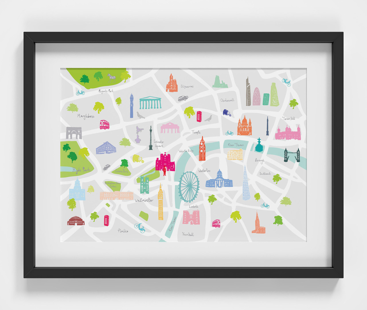 b8985c8ea0f Illustrated hand drawn London map by UK artist Holly Francesca. All prints  can come framed