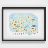 Illustrated Map of Canada Art Print by Artist Holly Francesca