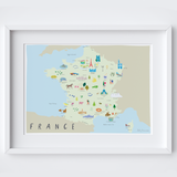 Illustrated Map of France Art Print by Artist Holly Francesca