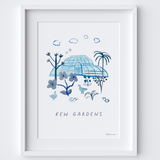 This travel poster of the Palm House, Kew Gardens was created from an original drawing & blue ink painting by artist Holly Francesca.