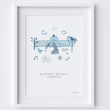 This travel poster of the Palm House & Statue at Glasgow Botanic Gardens was created from an original drawing & blue ink painting by artist Holly Francesca.