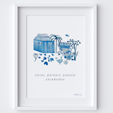 This travel poster of the Royal Botanic Garden Edinburgh was created from an original drawing & blue ink painting by artist Holly Francesca.