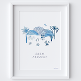 This travel poster of the Eden Project was created from an original drawing & blue ink painting by artist Holly Francesca.