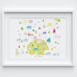 Illustrated hand drawn Map of Highgate art print by artist Holly Francesca.