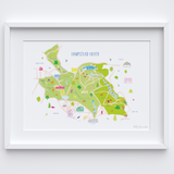 Illustrated hand drawn Map of Hampstead Heath art print by artist Holly Francesca.