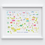Illustrated hand drawn Map of South East London art print by artist Holly Francesca.