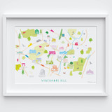 Map of Winchmore Hill Framed Option