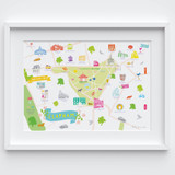 Illustrated hand drawn Map of Clapham art print by artist Holly Francesca.