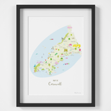 Map of Cornwall in South West England framed print illustration