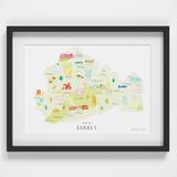 Map of Surrey South West England framed print illustration