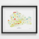 Map of Surrey South West England framed print illustration