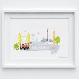 Illustrated hand drawn London city scene art print by artist Holly Francesca.