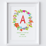 Illustrated hand drawn personalised Tropical Name art print by artist Holly Francesca.