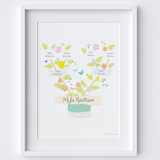 Illustrated hand drawn Family Tree art print by artist Holly Francesca.