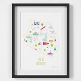 Map of Birmingham art print illustration framed by artist Holly Francesca