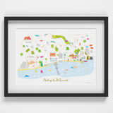 Illustrated hand drawn Map of Hastings art print by artist Holly Francesca.