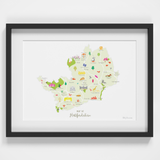 Map of Hertfordshire in South England framed print illustration