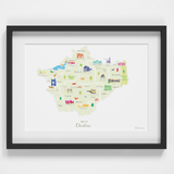 Map of Cheshire Art Print (Various Sizes)