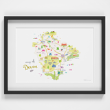 Map of Devon in South West England framed print illustration
