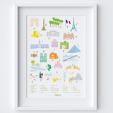A-Z of Paris Alphabet Art Print (Various Sizes)