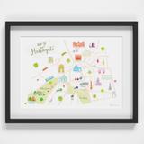 Map of Harrogate Art Print illustration by artist Holly Francesca