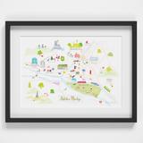 Illustrated hand drawn Map of Hebden Bridge art print by artist Holly Francesca.