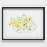 Map of Dorset in South West England framed print illustration