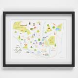Map of Bath art print framed illustration by artist Holly Francesca