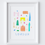 Illustrated papercut London landmark buildings art print by artist Holly Francesca.