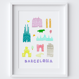 Illustrated papercut Barcelona landmark buildings art print by artist Holly Francesca.