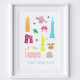Illustrated papercut New York City landmark buildings art print by artist Holly Francesca.