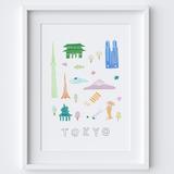 Illustrated papercut Tokyo landmark buildings art print by artist Holly Francesca.