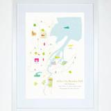 Illustrated hand drawn Belfast Marathon Route Map art print by artist Holly Francesca.