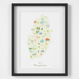 Map of Nottinghamshire The Midlands England framed print illustration