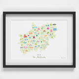 Map of The Midlands England framed print illustration
