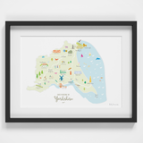 Map of East Yorkshire in North East England framed print illustration