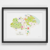 Map of North Yorkshire North East England framed print illustration