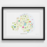 Illustrated hand drawn Map of Northern Ireland art print by artist Holly Francesca.