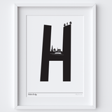 Illustrated hand drawn Hebden Bridge Letter art print by artist Holly Francesca.