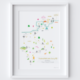 Illustrated hand drawn RideLondon-Surrey 46 & 100 Route Map art print by artist Holly Francesca.