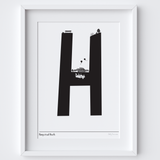 Illustrated hand drawn Hampstead Letter art print by artist Holly Francesca.