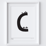 Illustrated hand drawn Clapham Letter art print by artist Holly Francesca.