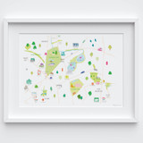 Illustrated hand drawn Finsbury Park & Stoke Newington map by UK artist Holly Francesca. All prints can come framed or unframed.