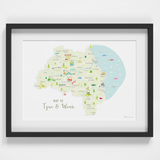 Map of Tyne & Wear in North East England framed print illustration