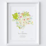 Illustrated hand drawn Tour de Yorkshire 2019 Route Map art print by artist Holly Francesca.