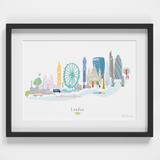 Illustrated hand drawn London Skyline Cityscape art print by artist Holly Francesca.