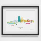 Illustrated hand drawn Birmingham Skyline Cityscape art print by artist Holly Francesca.